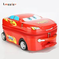 Child Carry on Luggage, Cartoon Car Suitcase with wheel, 18