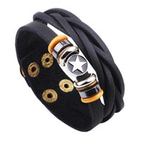 achat en gros de bracelets en cuir mâles authentiques-Vente en gros-Nouvelle marque authentique PU hommes en cuir Bracelet Bijoux Star Wristband Wrap Punk Braclet Pour Homme Manche Cuir Pulseras Pulseira Jewlry