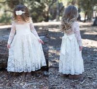 2017 Summer Boho Beach Flower Girl vestidos para bodas Full Lace manga larga de tobillo longitud primer vestido de comunión para las niñas baratos