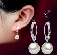Wholesale 925 Sterling Silver Drop Earrings Shambala Ball Stud Earrings Platinum Plated Round Pearl Dangle Charm Jewelry Elegant Female Wedding Party