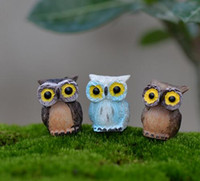 artificial owl - Fairy Garden Miniature Owl Blue Black Brown color assorted artificial mini owl decors resin crafts bonsai decors