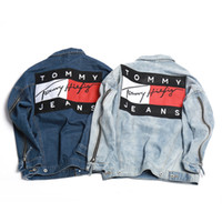 Wholesale New Ripped Denim jacket hip hop streetwear printing loose men and women unisex broken jean jackets street couple denim jacket