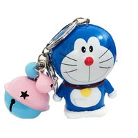Wholesale 2016 hot selling new style key chain metal fashion small bell Evade glue Doraemon doll stereoscopic car bag Christmas friend