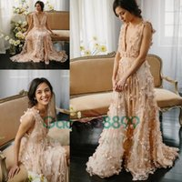 Wholesale Romantic blush butterfly D floral evening pageant dresses modest full length v neck holiday handmade flower prom party gowns