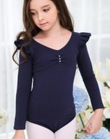 Wholesale New Girls cotton long sleeve ballet leotard with tutu pinch neckline four colors choice
