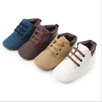 Boy Spring / Autumn Cotton Toddler Girls Boys Lace-up Crib Shoes Newborn Baby Prewalker Soft Sole Sneakers