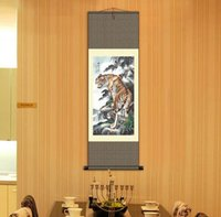 Wholesale gift home living room office hanging antique landscape silk painting Feng Shui scroll Chinese painting oil landscape Decoration design