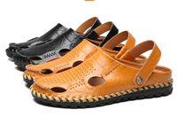 Sandalias del vestido del Mens del cuero genuino de las sandalias de los hombres de la manera La playa de los hombres respirables del verano 2017 calza el tamaño ocasional masculino de los deslizadores de los flips-flopes: 38--44
