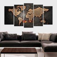 al por mayor decoración de mapas-5 PC / arte abstracto moderno de la pared de la pared que pinta la pintura de la lona del mapa del mundo para las ilustraciones de la imagen de la decoración casera de la sala de estar