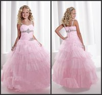 Wholesale Pink Girls Dresses Floor Length Tiered Skirt Sweetheart Neck Zipper Back Sleeveless Custom Made Formal Gowns Crystals Sparked Elegant