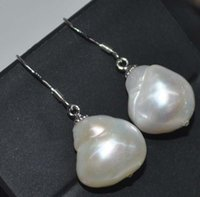 baroque pearls wholesale - pairs Baroque white mm FW pearl dangle earring