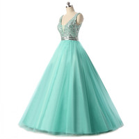 Cheap 2017 Real High Quality Beaded Crystal V Neck Sleeveless Aqua Prom Dresses Long Tulle Puffy Sweet 16 Dress Backless Party Quinceanera Gowns