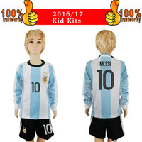 Wholesale 2017 Argentina Kid Jersey Argentina Long Sleeve Kits Home Boy Soccer Jerseys Messi Aguero Di Maria Thai Quality Child Shirts