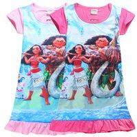 Spring / Autumn Knee-Length Cotton Blends New 6 colors baby girls Moana dress cartoon Children Moana printing short sleeves Princess dresses Kids Clothing C1734
