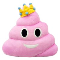 Wholesale New cm emoji plush toys Pillow Cushion cartoon Poop Stuffed Animals Pillows dolls crown pink rainbow color Free