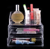 Wholesale Cosmetic cases plastic cosmetic and jewellery organizer makeup holder Clear cosmetic storage box two drawers DHL