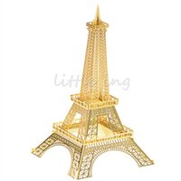 Wholesale Gold Eiffel Tower D Metal Puzzles Jigsaw DIY architecture Assembled Model Building Kits Learning Education Jigsaw Puzzles
