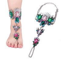 Wholesale Colorful Ankle Bracelet For Beach Vacation Vintage Luxury Barefoot Chain Jewelry For Women FSA001 B