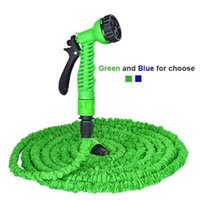 Wholesale DHL ft Latex Garden Expandable Hose TV Hose with Multi function Sprayer green blue Lightweight Water Hose Soaker Pipe