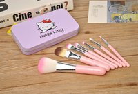 Hot Selling Hello Kitty Maquillage Cosmetic Brush Kit Pinceaux Maquillage Pink Iron Case Appareils De Beauté Toiletry Cute Mini Case 7pcs / set