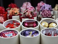Wholesale Hot European Style New silk ribbon and lavender Candy Box Cylindrical Wedding Favors Holder Gift Gold