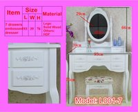 Wholesale White Ivory colored Queen Anne style dresser Make Up dressing table vanity set with swivel oval mirror and stool