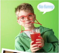 Wholesale pc Novelty Flexible Colorful Soft Glasses Silly DIY Drinking Straw