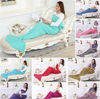 bamboo mattress - 2016 Adult Handmade Mermaid Tail Blanket Crochet Mermaid Tail Sleeping Bags Cocoon Mattress Knit Sofa Blankets A1234