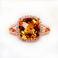 Cheap 8mm Big crystal ring for women 2.5carat 925 Stering Silver Luxury Jewelry square ring yelow crystal citrine fine jewelry 100% Real silver