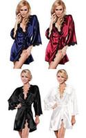 Wholesale Women Night Bath Robe Dress Ladies Lingerie Sexy Sleepwear Silk Nightwear Gown