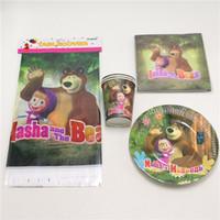 achat en gros de table verre offre-La nouvelle masha et le dessin animé de thème d'ours de bébé de 41pcs soutiennent la tasse de papier / les assiettes de table +