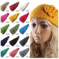 Wholesale Women Crochet Headband Warm Handmade Lady Flower Knitted Hairband Headwrap Winter Knit Hair Ear Warmer Accessories Photography Props F230