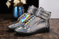 Wholesale Dazzle Colors Maison Martin Margiela Mens Latest Fashion High Quality Glossy Leather Man Casual Shoes