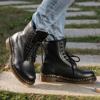 Wholesale 2017 New Arrival Men Women Genuine Leather street Riding shoes Motorcycle Boots motorbike Martin Boots motorcycle gear fashion shoes boots