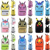 adult school bag - 14 Styles Poke Backpacks Pocket Monster Pikachu Eevee Bulbasaur Backpacks Kids Adult Cartoon Shoulder School Travel Bags LJJP386
