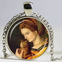 Accessoires pour chat France-Retro Women and Cat by Fine Art Collier pendentif en dôme en verre Francesco Ubertini Collier bricolage à la main