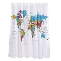 Wholesale World Map Sketch Waterproof Antifungal Colorful Shower Curtain x inches x cm Holes