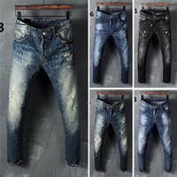 Wholesale new arrival famous brand fashion men ripped jeans slim fit men s stretch skinny biker jean male