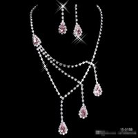 Wholesale Cheap Cross Rhinestone Jewelry - 2016 Shinning Rhinestone Blue Lady Necklace Earring Sets Bridal Accessories Jewelry for Wedding Party Evening Prom In Stock Cheap 15015B