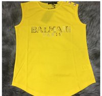Wholesale Round neck when the women still shirt gold foil letters shoulder buckle circular hem t shirt