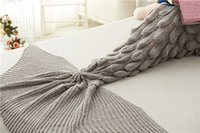 Wholesale 180x80CM Yarn Knitted Mermaid Tail Knit Blanket Super Soft Sleeping Bed Handmade Crochet Anti Pilling Portable Blanket For Autum