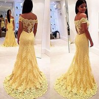 art samples - Real Sample Yellow Lace Mermaid Evening Dress Vestidos Hot Sale Off Shoulder Lace Applique Prom Dress Elegant Party Dress