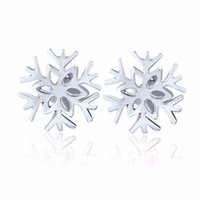 Wholesale Fashion Authentic Sterling Silver Stud Earrings Snowflake with aaa CZ Diamond Christmas Gift for Women