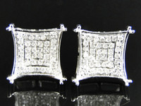 Wholesale Mens Ladies K White Gold MM Diamond Pave Square Prong Stud Earrings Ct