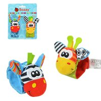 baby corduroy soft - 2PCS set Baby Animal Toys Wrist Band Foot Finder Soft Plush Cartoon Wrist Strap Rattles Baby Hand Bells Infant Appease Toys Newbron Gifts