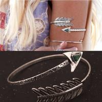 arm chains - Bohemian Ethnic Upper Arm Bracelet Vintage Arrow Open Bangle Armlet Arm Cuff K4001