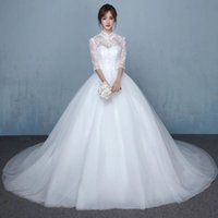 Wholesale Retro collar high waist white backless lace half sleeve Korean Wedding Dress