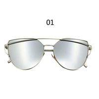 2017 Los vidrios de sol de gran tamaño del ojo de gato del marco del metal del espejo de la lente de las gafas de sol de las nuevas mujeres de las llegadas de la buena calidad liberan el envío