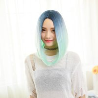 Wholesale Gradient color dyeing new girls short curls bobo head fluffy in the sub Liu hairstyle new fashion star wig