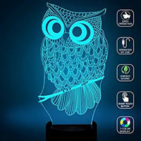 Wholesale Owl D Optical Illusions LED Lamps Night Light Lamp Color Touch Lamp Kiddie Kids Children Family Holiday Gift Home Office Childrenroom Th